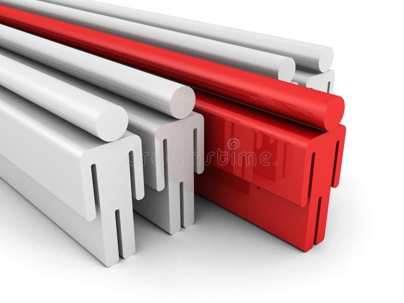 Führungs-Konzept mit rotem Führer Of Team Group People Icons lizenzfreie abbildung