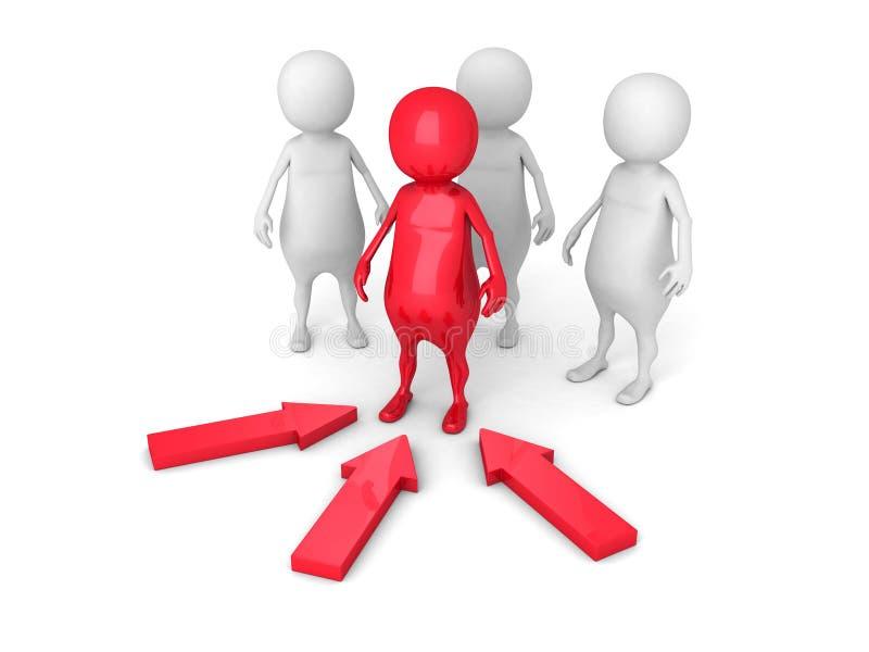 Führungs-Konzept mit rotem Person Leader lizenzfreie abbildung
