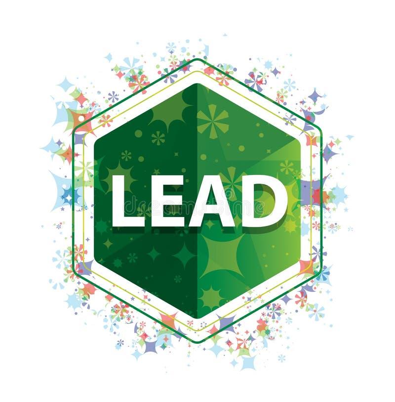 Führungsblumenbetriebsmustergrün-Hexagonknopf stock abbildung