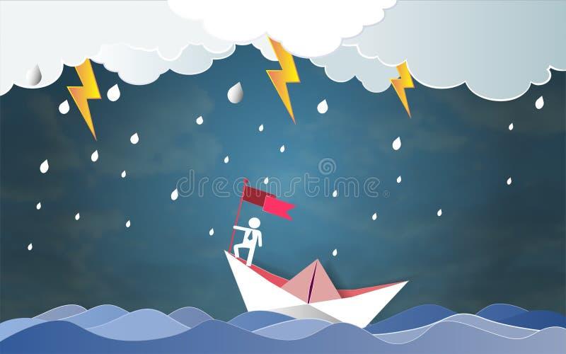 Führungserfolgskonzept, Geschäftsmann auf haltener Spitzenflagge mit Boot gegen verrücktes Meer und Blitz im Sturm lizenzfreie abbildung