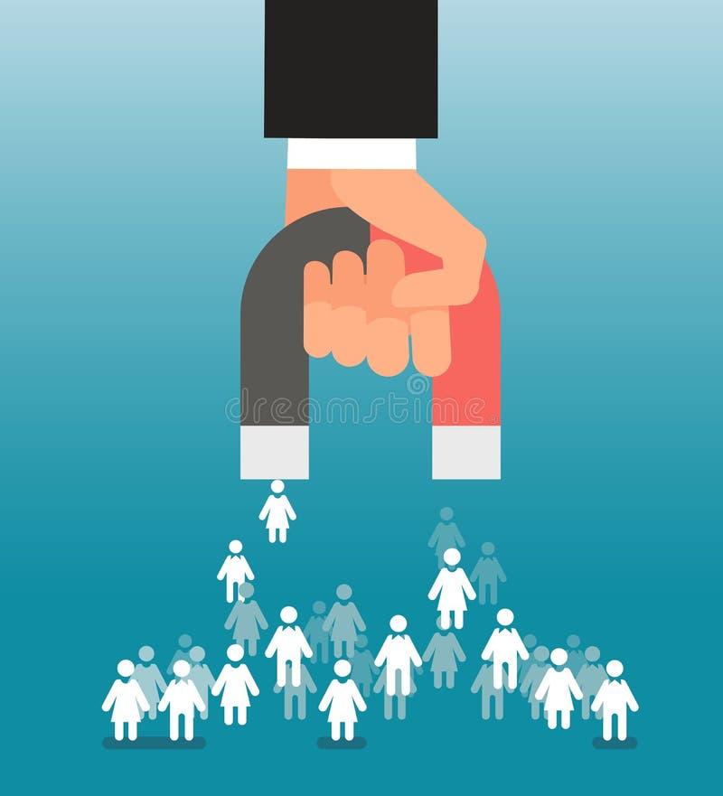 Führungsgeneration Magnet zieht in der Hand Verbraucher an Verkäufe und Führungen, vermarktendes Vektorkonzept vektor abbildung