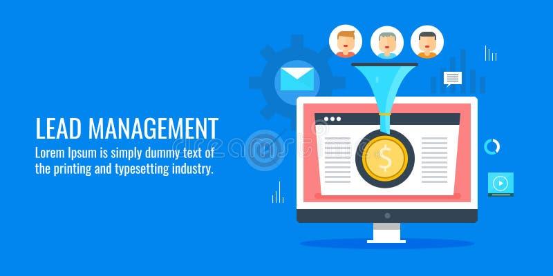 Führungsgeneration - Management - Umwandlungsoptimierung, digitaler Verkaufstrichter Flache Designvektorfahne stock abbildung