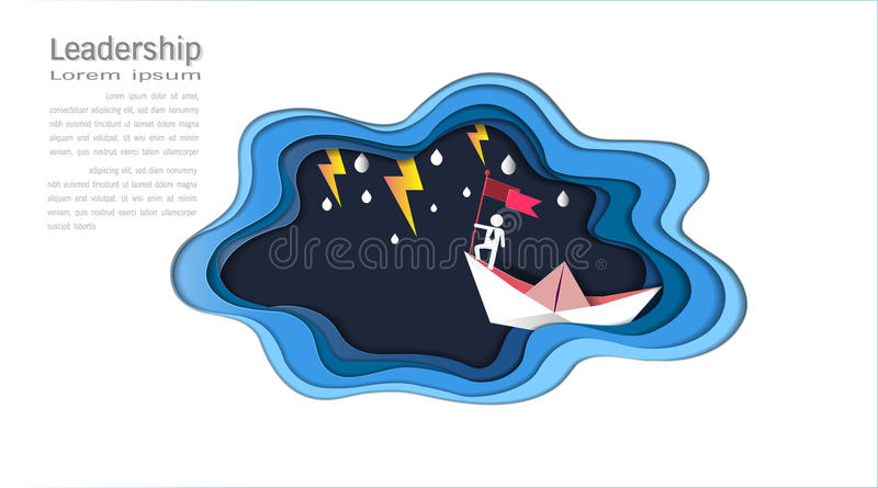 Führungskonzept, Geschäftsmann auf haltener Spitzenflagge mit Boot gegen verrücktes Meer und Blitz im Sturm, Symbol des Erfolgs lizenzfreie abbildung