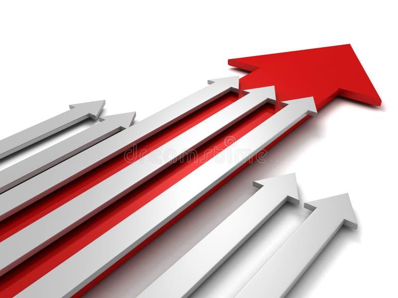 Führungskonzept mit großem rotem Pfeil von der grauen Gruppe vektor abbildung
