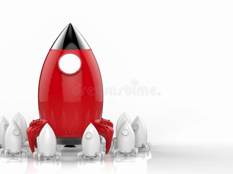 Führungskonzept mit Rakete lizenzfreie stockfotos