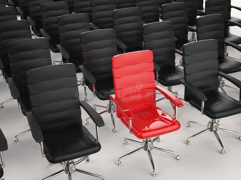 Führungskonzept mit rotem Bürostuhl lizenzfreie abbildung
