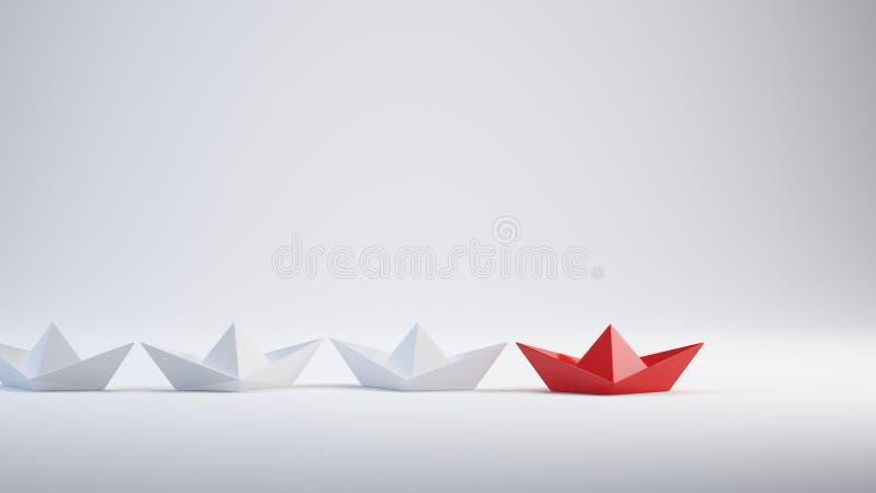 Führungskonzept - rotes Führerpapierschiff stock abbildung