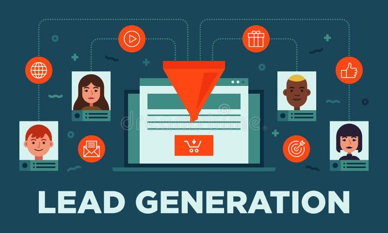 Führungsmanagement, führen Generation, Umwandlung, Vektor-Fahnenillustration der Online-Verkauf-Optimierung flache mit Ikonen lizenzfreie abbildung