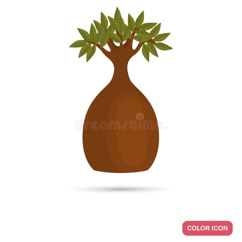Füllen Sie Baumfarbflache Ikone für Netz und bewegliches Design ab lizenzfreie abbildung