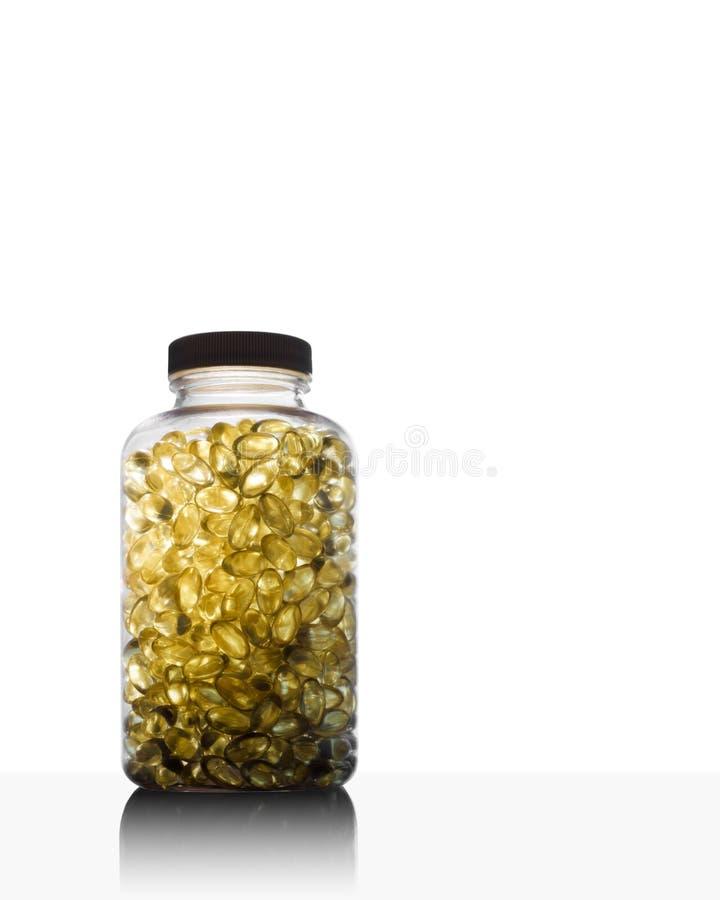 Füllen Sie voll vom Fischöl Omega 3 und von Vitamin D ab stockbilder