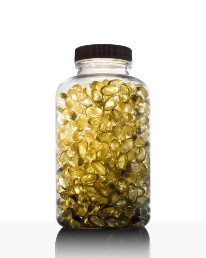Füllen Sie voll vom Fischöl Omega 3 und von Vitamin D ab stockfoto