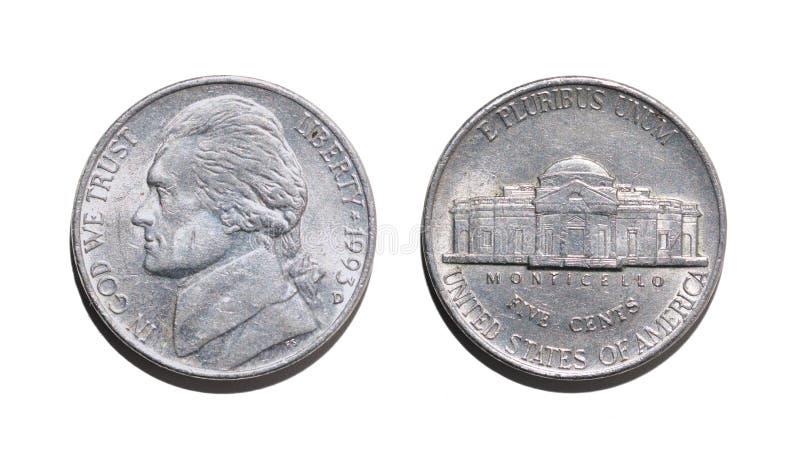 Fünf amerikanische Cents, beide Parteien einer Münze stockbilder