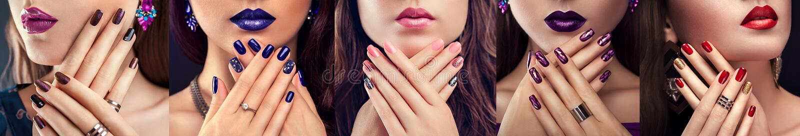 Fünf Arten purpurroter Nagelentwurf Schönheit mit perfektem Make-up, Maniküre und Schmuck Art und Weise stockbild
