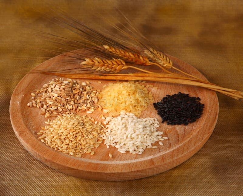 Fünf Arten Reis lizenzfreies stockbild