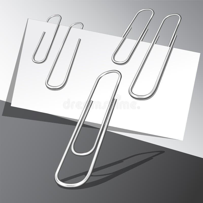 Fünf Büroklammern und Papierblätter stock abbildung