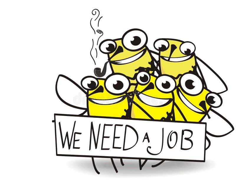 Fünf Bienen, die Job benötigen stock abbildung
