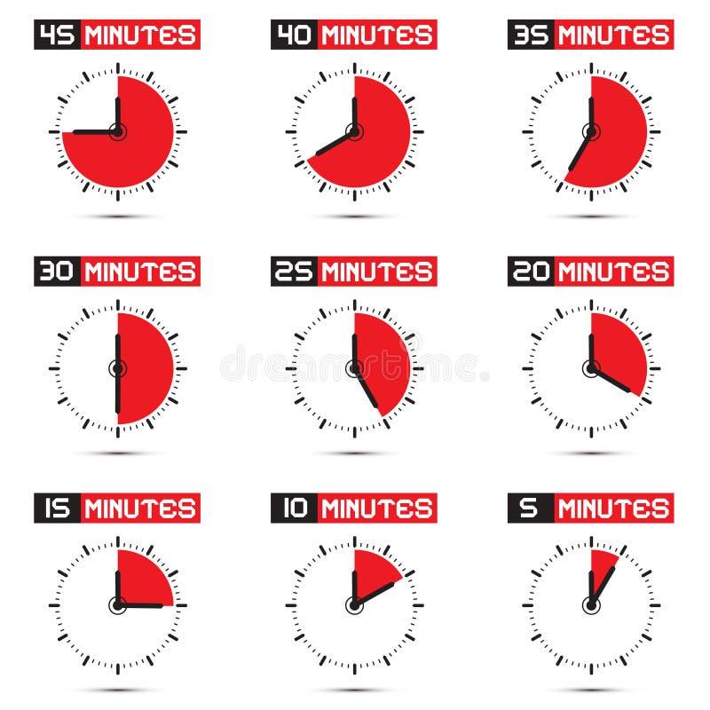 Fünf bis fünfundvierzig Minute-Stoppuhr-Illustration vektor abbildung