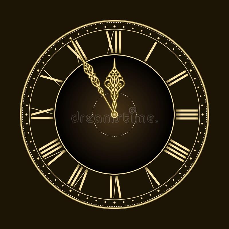 Fünf bis zwölf! Stilvolle goldene vektorborduhr vektor abbildung