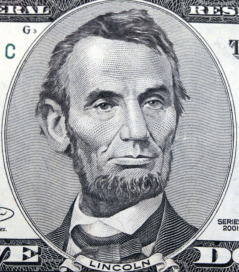 Fünf Dollar Abraham lizenzfreies stockfoto