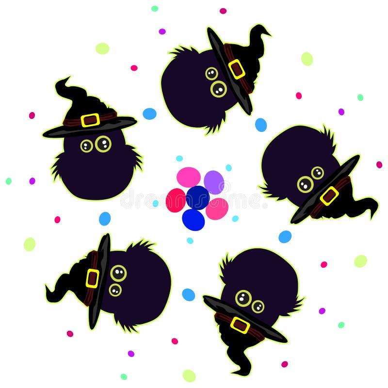 Fünf Eulenhüte Auch im corel abgehobenen Betrag Halloween vektor abbildung