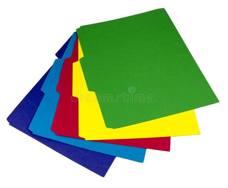 Fünf färbten Ordner heraus aufgelockert stockbild