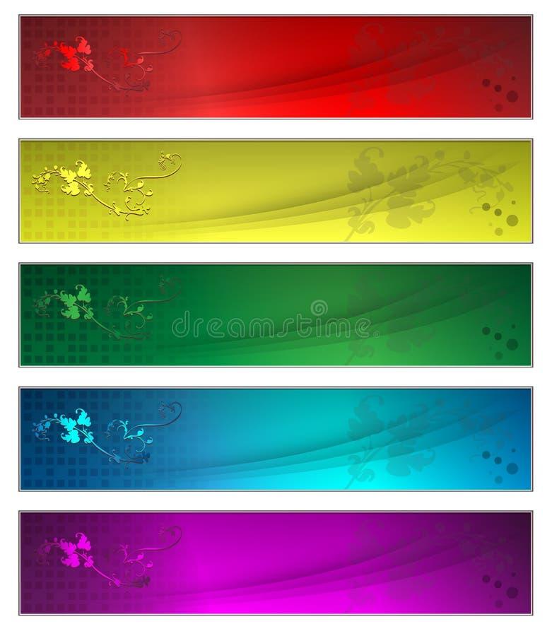 Fünf Fahnen lizenzfreie abbildung