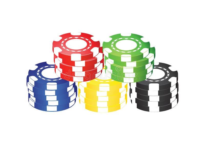 Fünf farbige Schürhaken-Chips lizenzfreie stockfotografie