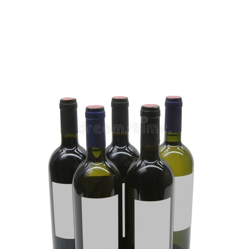 Fünf Flaschen lizenzfreies stockbild