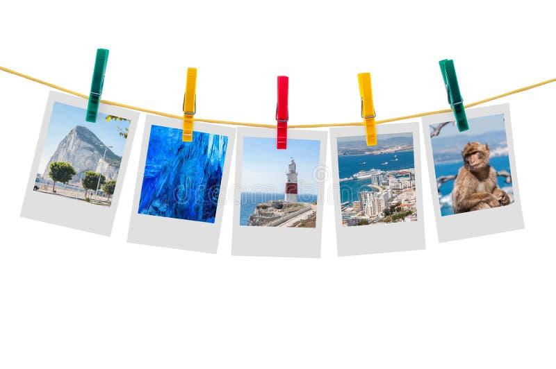 Fünf Fotos Gibraltar auf Wäscheleine stockfoto
