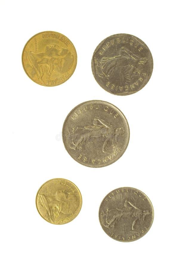 Fünf französische Münzen stockfotografie
