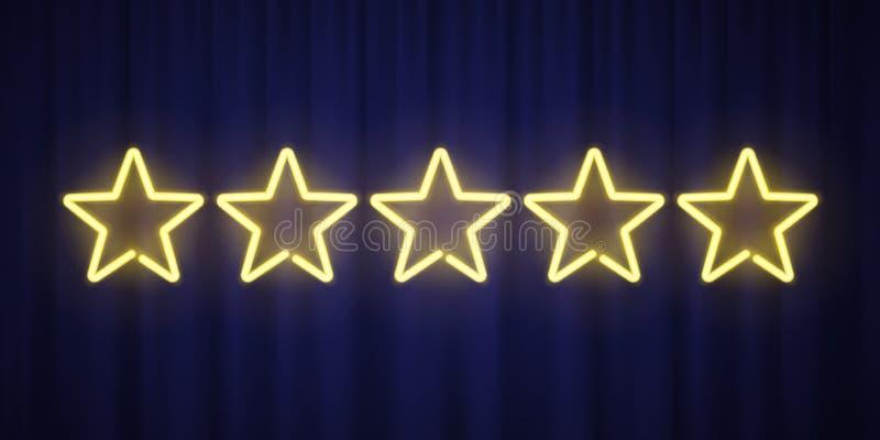 Fünf gelbe Neonsterne, die das Gestaltungselement lokalisiert auf blauem Vorhanghintergrund veranschlagen Vektorneonsternformen f stock abbildung