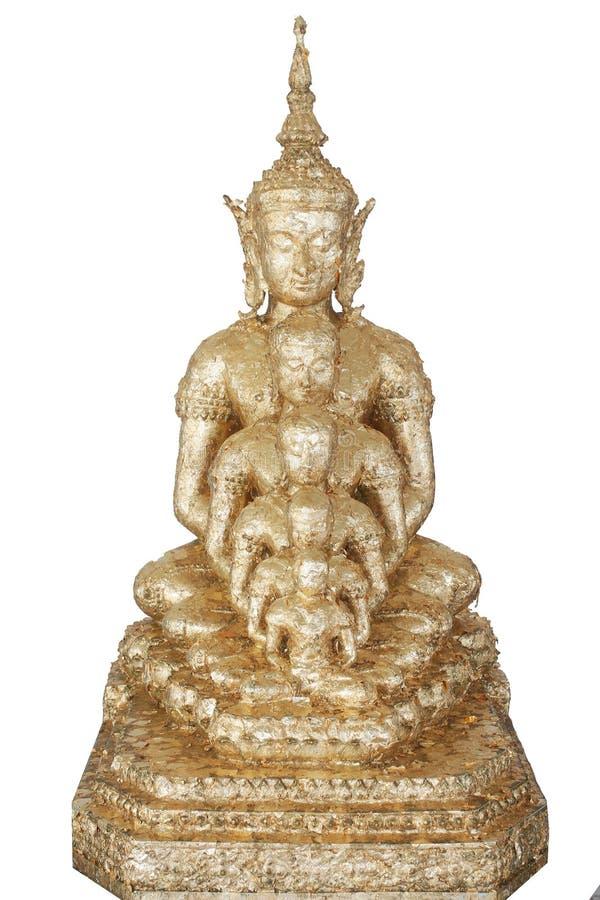 Fünf goldene Buddha-Statuen wohle Ausrichtung sitzend und mit dem feinen attraktiven Spiegel des Schmucks und des Goldes, lokalis stockfotos