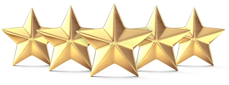 Fünf goldene Sterne lizenzfreie abbildung