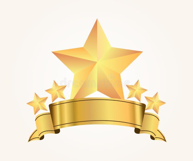 Fünf goldene Sterne mit Band auf weichem Hintergrund stock abbildung