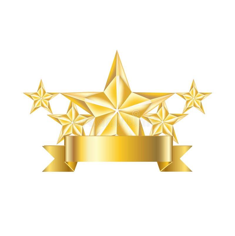 Fünf goldene Sterne mit der Bandikone lokalisiert stock abbildung