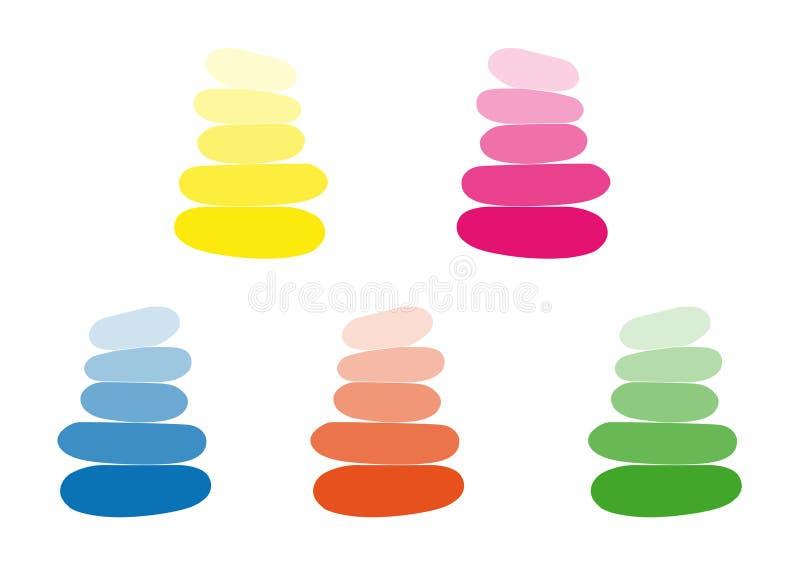 Fünf Gruppen Steinsteinhaufen, verschiedene helle Farbe, Einfachheitsentwurf lokalisiert auf weißem Hintergrund lizenzfreie abbildung