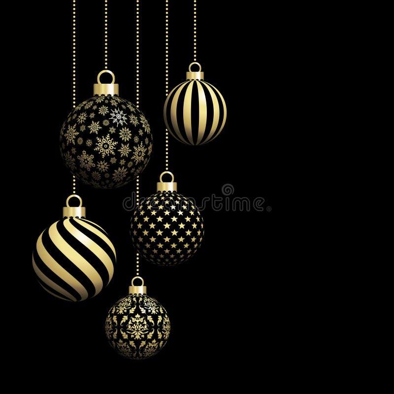 Fünf hängende Weihnachtsbälle schwärzen und Gold lizenzfreie abbildung