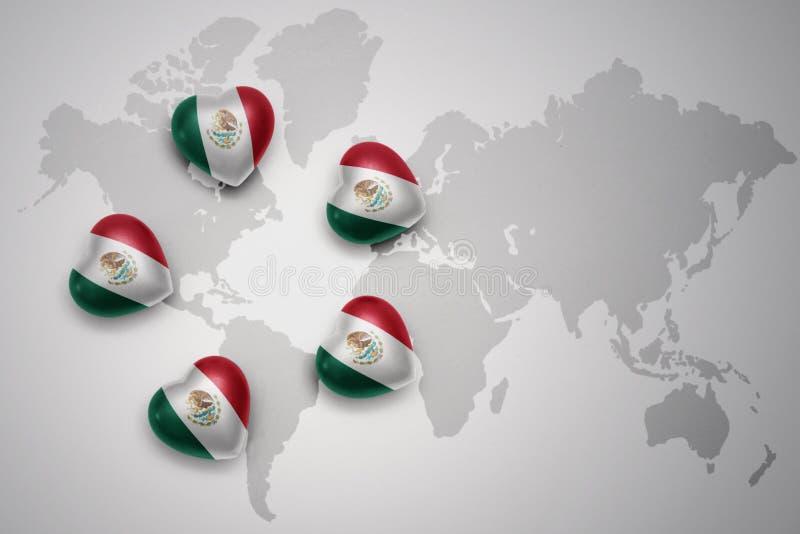 fünf Herzen mit Staatsflagge von Mexiko auf einem Weltkartehintergrund stock abbildung