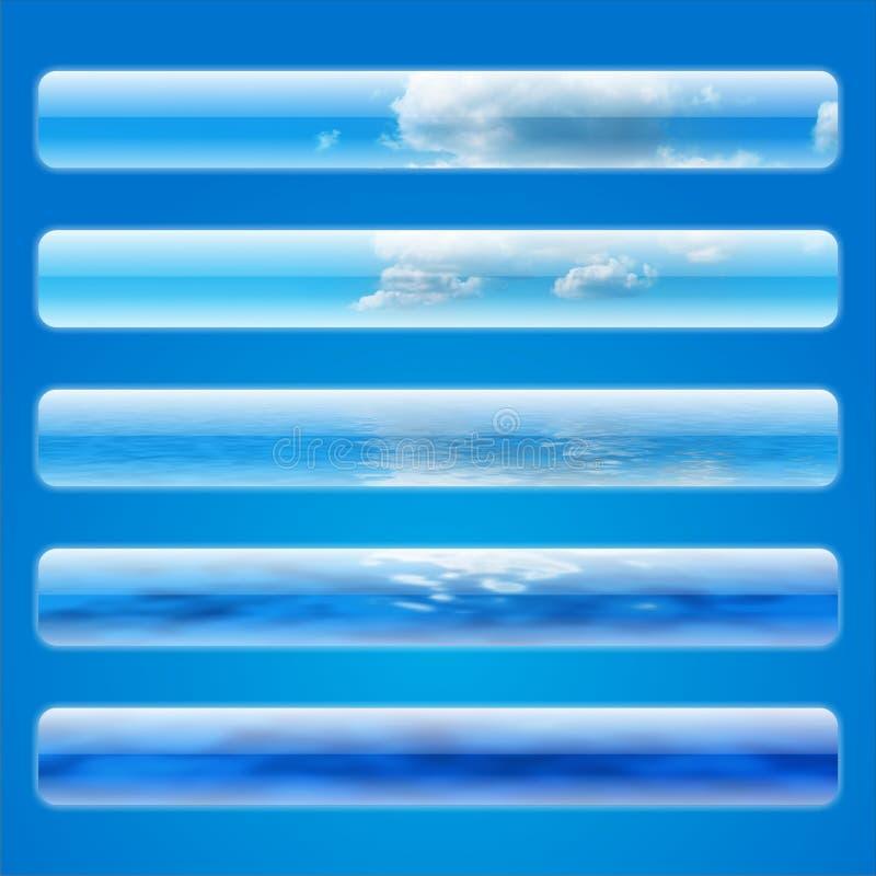 Fünf Himmelweb-Fahnen stock abbildung