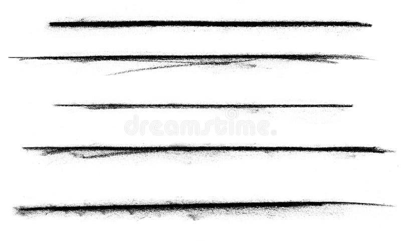 Fünf Holzkohle-Markierungen stockfoto