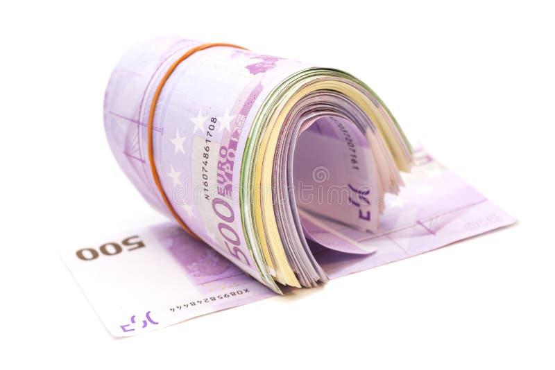 Fünf Hundertstel Banknoten unter Gummiband stockbilder