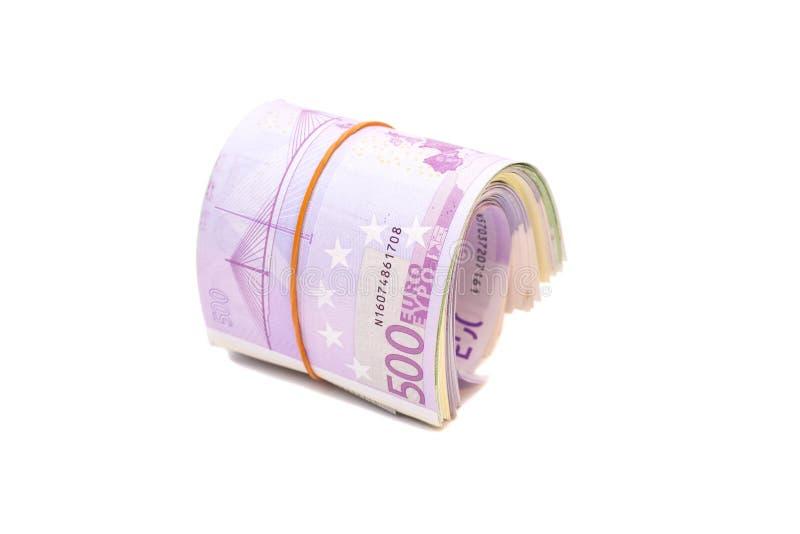 Fünf Hundertstel Banknoten unter Gummiband lizenzfreie stockbilder