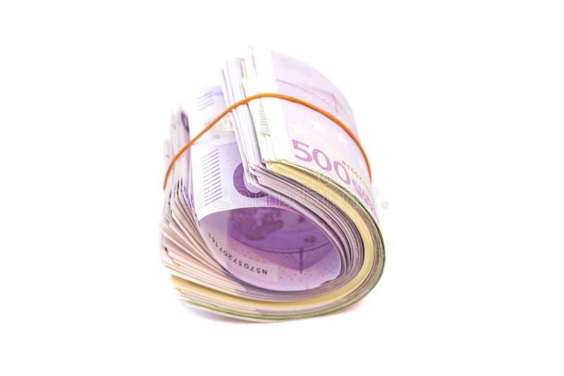 Fünf Hundertstel Banknoten unter Gummiband stockfotos