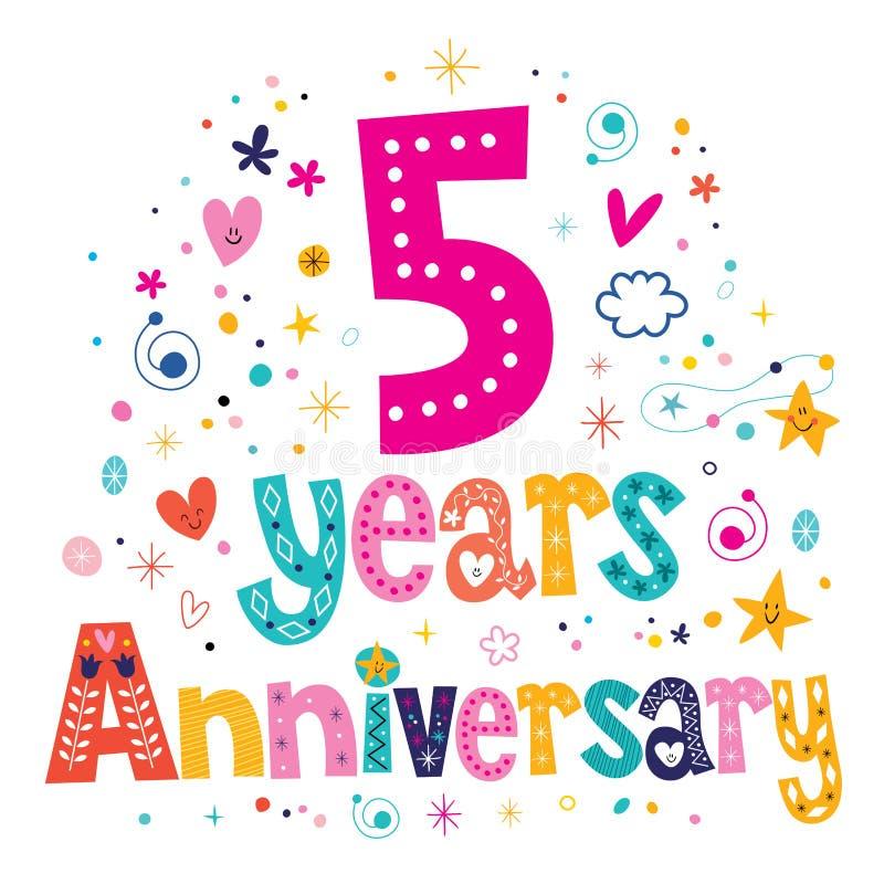 Fünf Jahre Beschriftungstext-Design der Jahrestagsfeier dekorative vektor abbildung