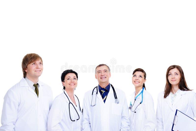 Fünf lachende erfolgreiche Doktoren stockfoto