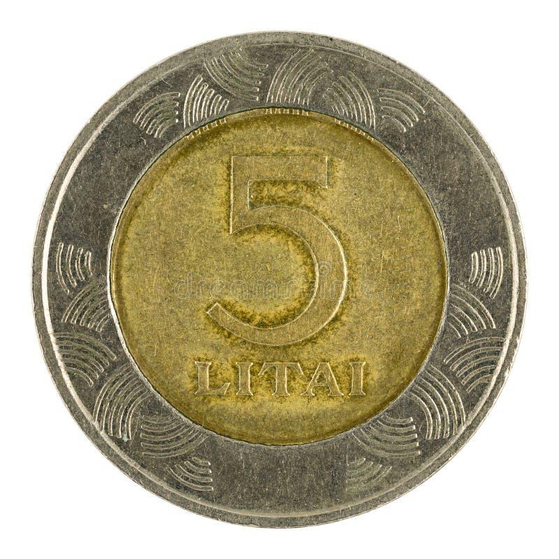 Fünf Litauer litai Münze 1999 lokalisiert auf weißem Hintergrund stockfoto