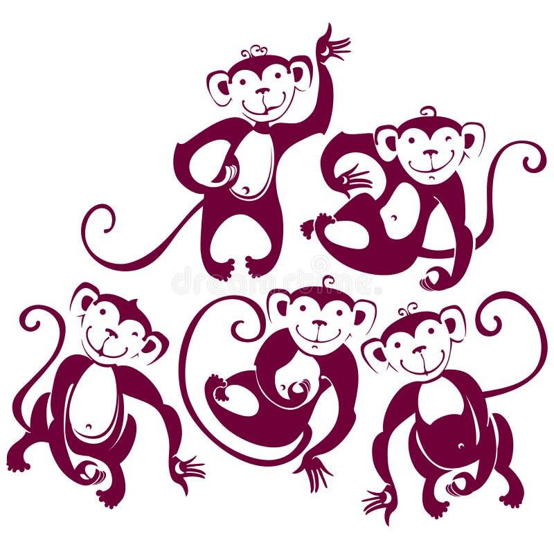 Fünf lustige Affen stock abbildung