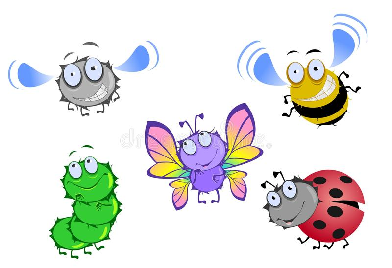 Fünf lustige Käfer lizenzfreie abbildung