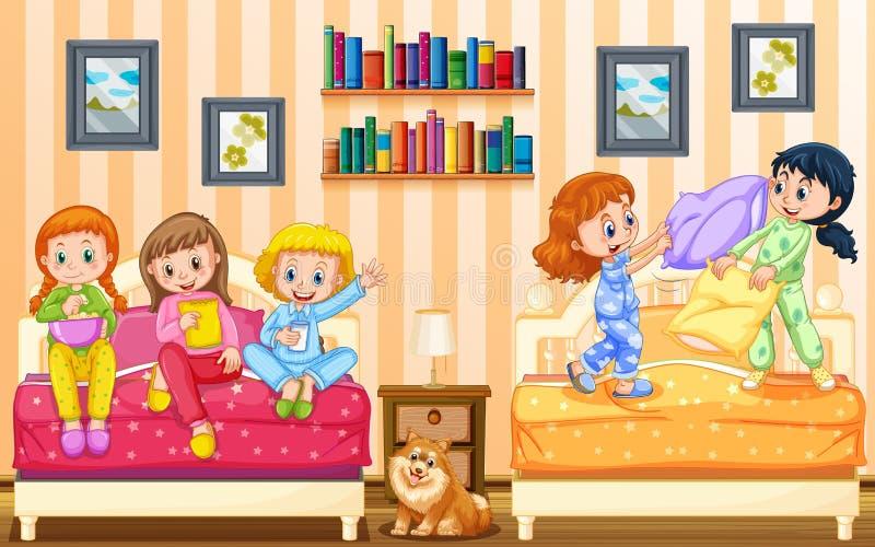 Fünf Mädchen, die im Schlafzimmer spielen vektor abbildung