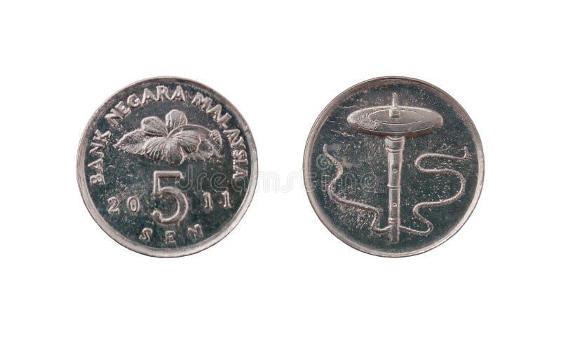 Fünf Malaysia-Cents stockbilder